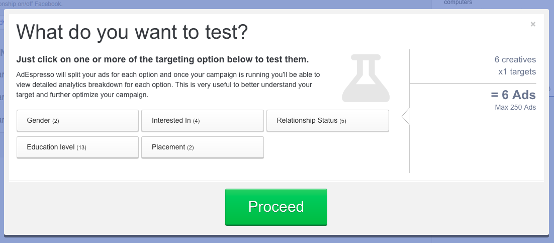 Facebook A/B test targeting options