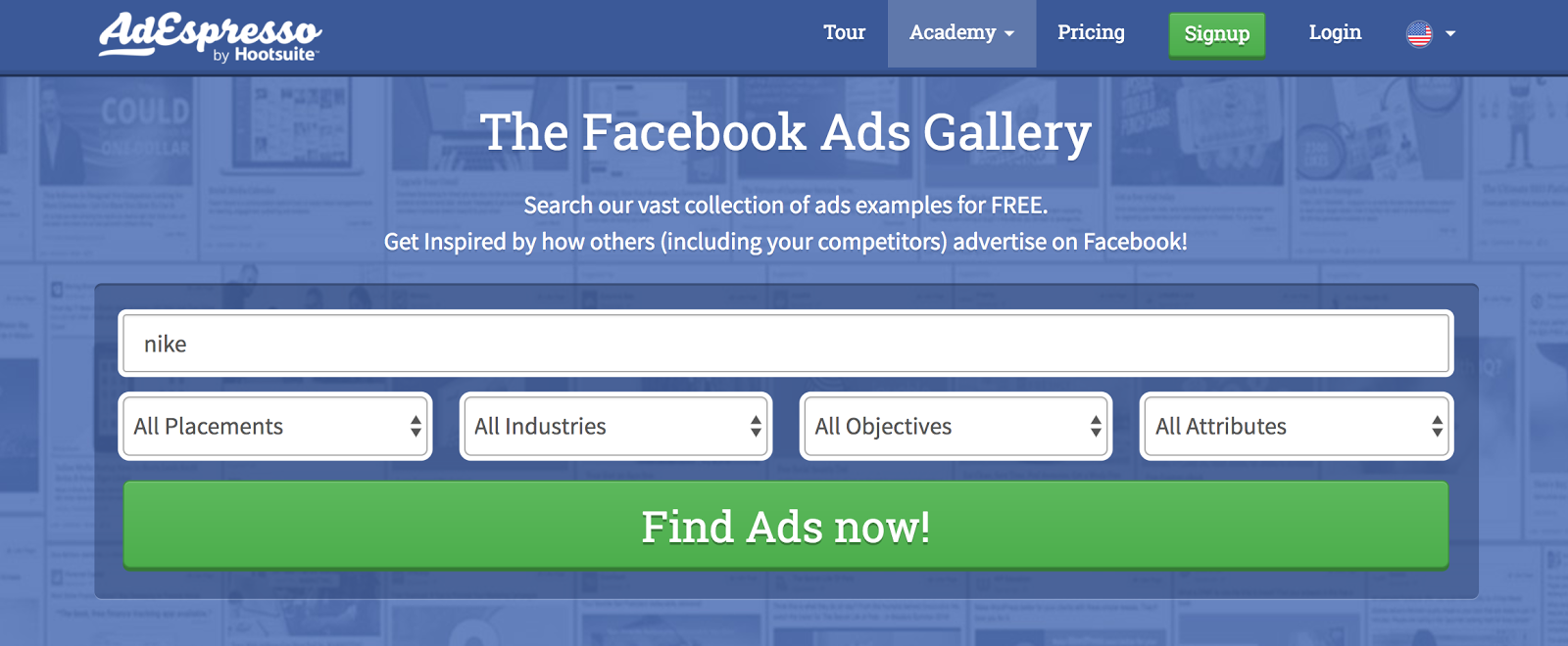 AdEspresso's Ads Gallery includes thousands of ads