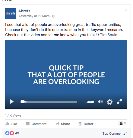 Ahrefs often uses video in Facebook posts
