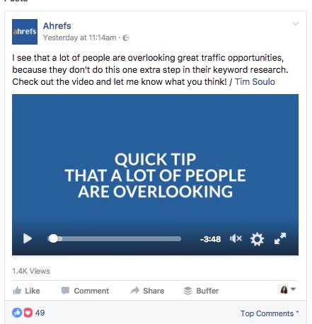Ahrefs Facebook video ad