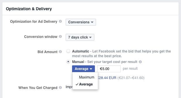 Facebook Lets You Choose Between Average & Maximum Bid