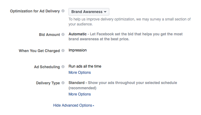 Every Facebook Campaign Objective Has Different Optimization Options