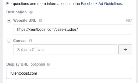 Facebook A/B test website URLs