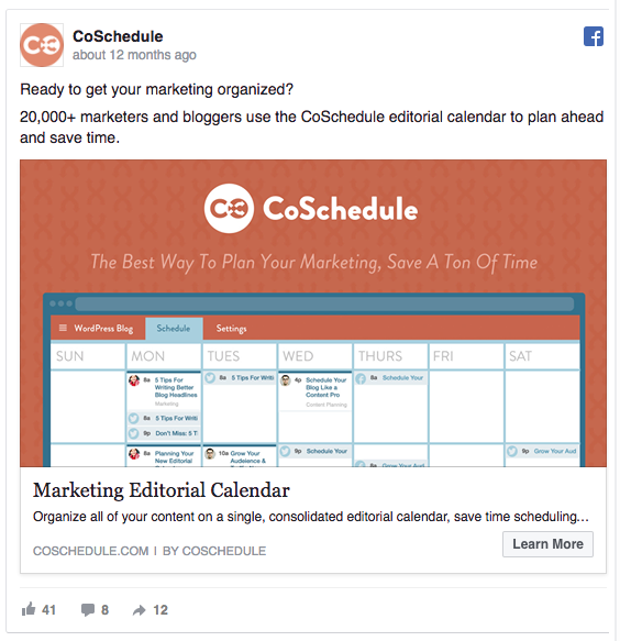 Facebook A/B test for CoSchedule