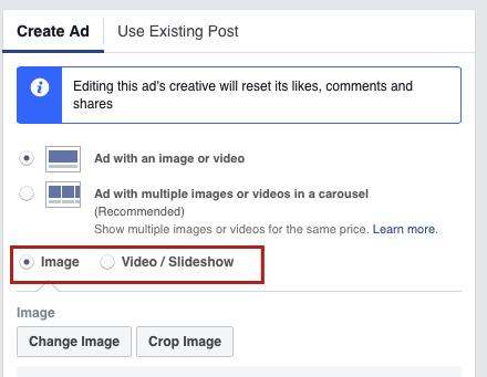 Facebook split test videos vs. images