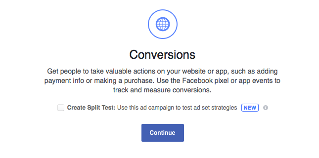 Facebook ad testing create A/B test