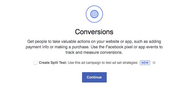 Create A/B test on Facebook