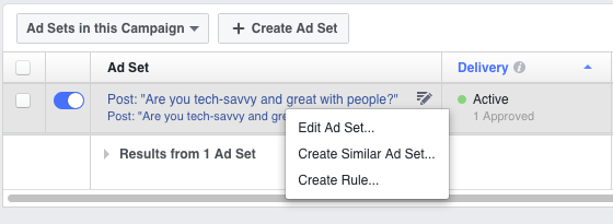 """Duplicate Facebook Ad Sets by Selecting """"Create Similar Ad Set"""""""