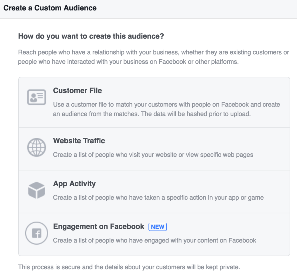 For example, you can create Custom Audiences