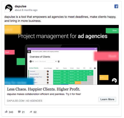 DaPulse tests different Facebook ad copies