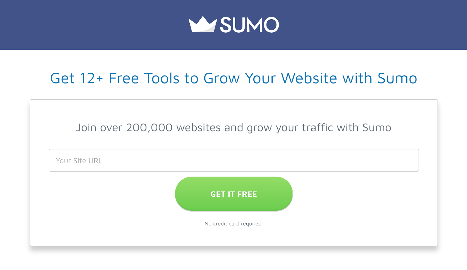 Sumo's landing page is different from the home page
