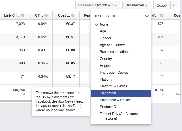 facebook ad placement report