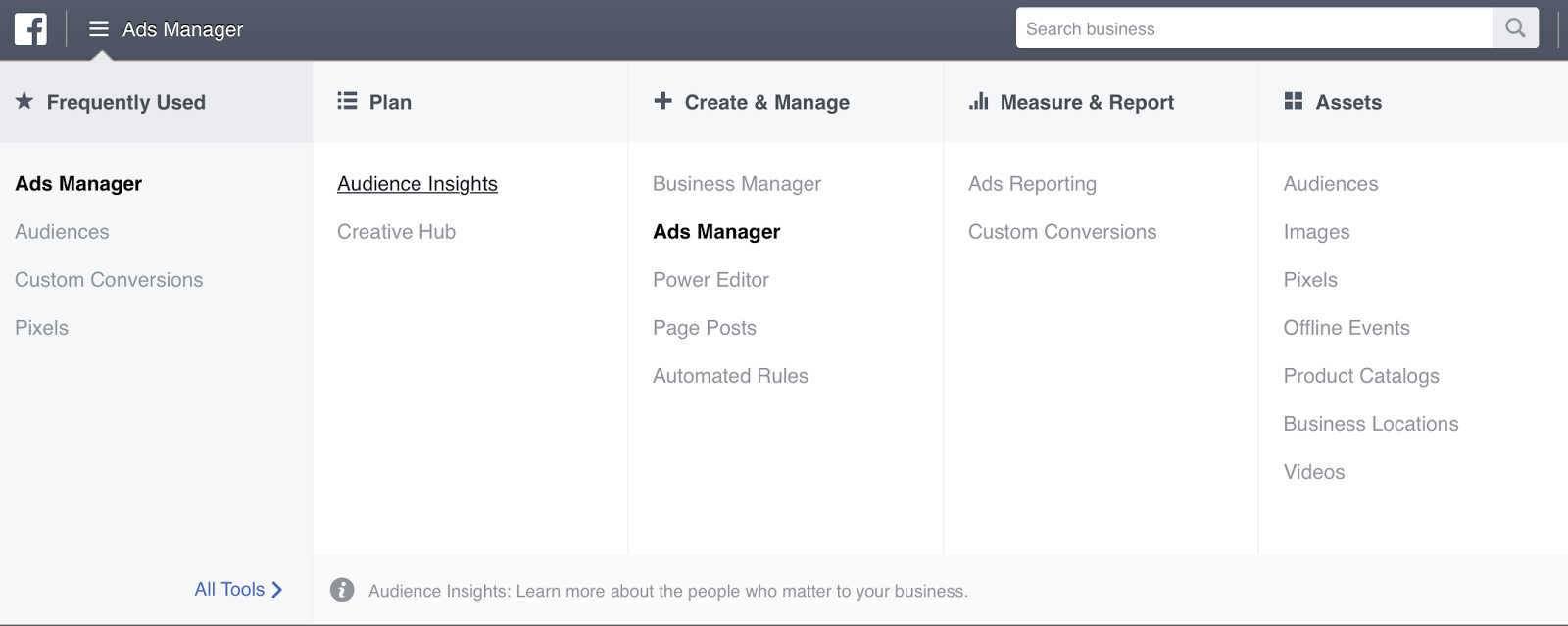 Access Audience Insights in Facebook Ads Manager