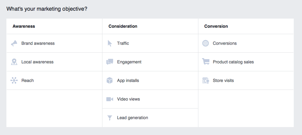 Facebook has MANY campaign objectives