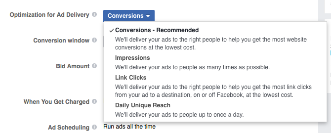 Conversions Are Facebook's Recommended Optimization Method