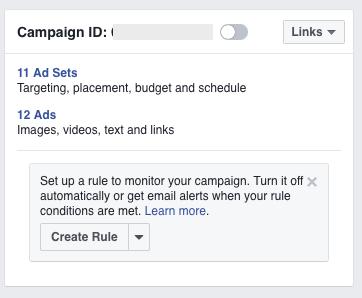 facebook create a rule