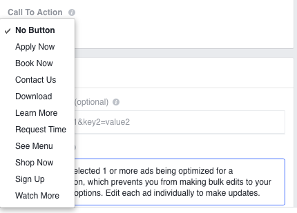 Facebook ad testing calls-to-action