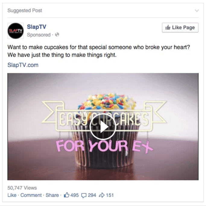 SlapTV's Facebook Page Like ad