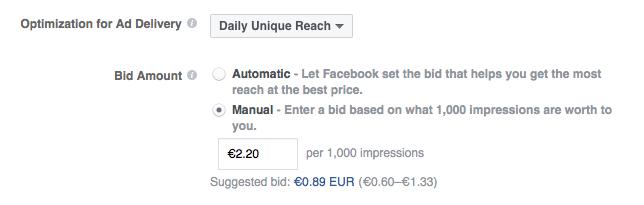 Instead of €2.20, You Can Bid €1.00 -- Facebook Bidding Options