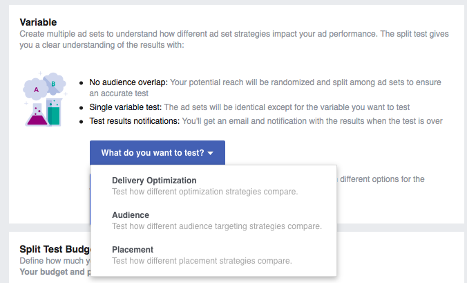 Facebook Split Testing has only three options
