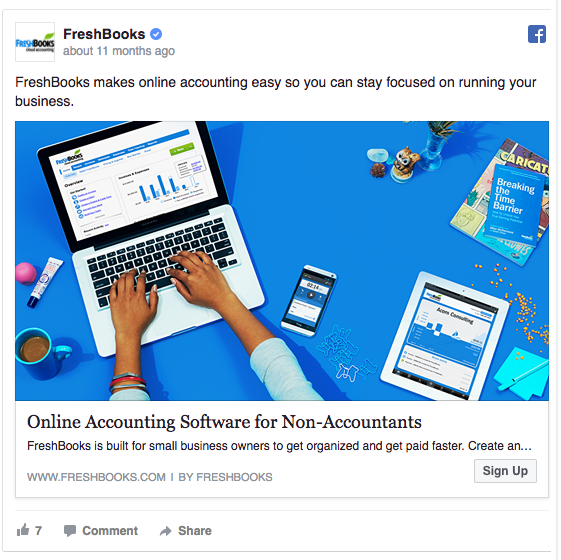 FreshBooks' colorful Newsfeed ad on Desktop