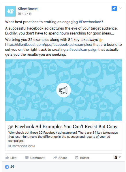 This KlientBoost Facebook Post Would Make a Great Ad