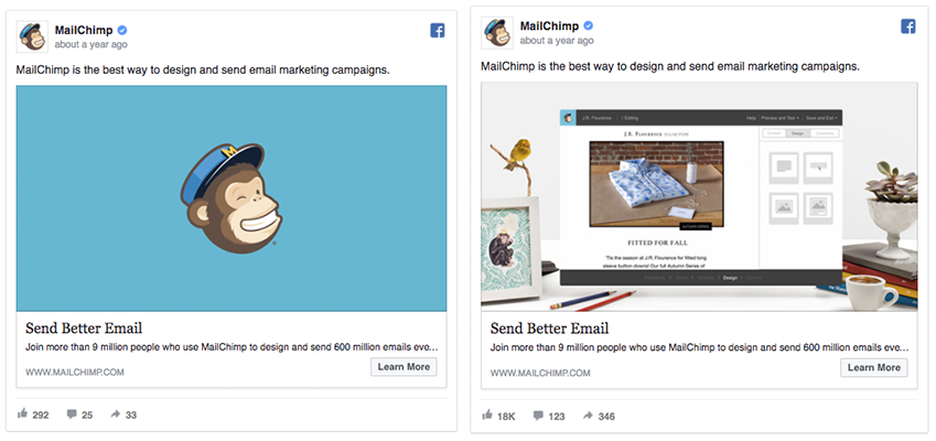 MailChimp A/B test example