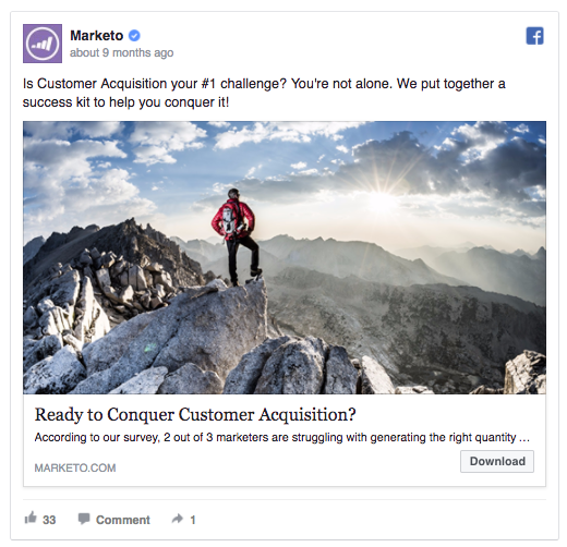 Capture attention headline Marketo facebook ad testing