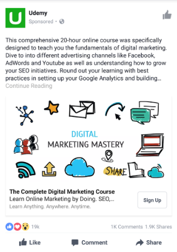 Udemy's simple Newsfeed ad on mobile