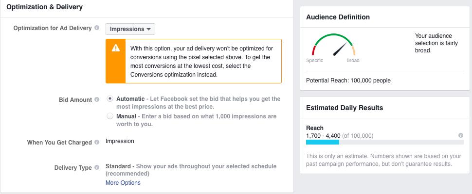 Facebook estimated reach