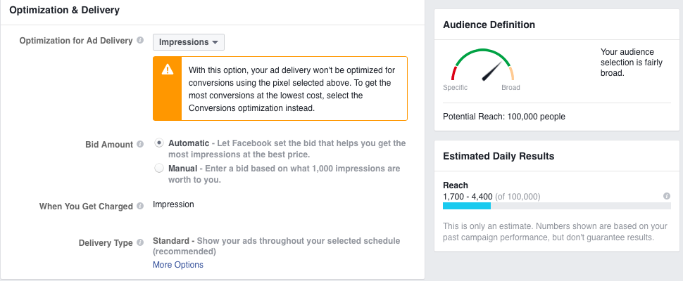 Every Facebook Ad Delivery Option Has a Different Estimated Reach