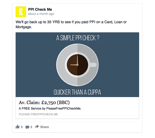 ppi check me facebook ad