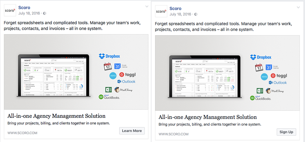Facebook A/B test, CTA