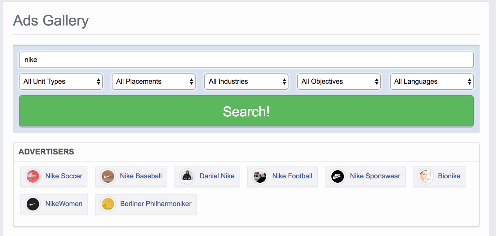 Filter the Facebook ads research results by advertisers