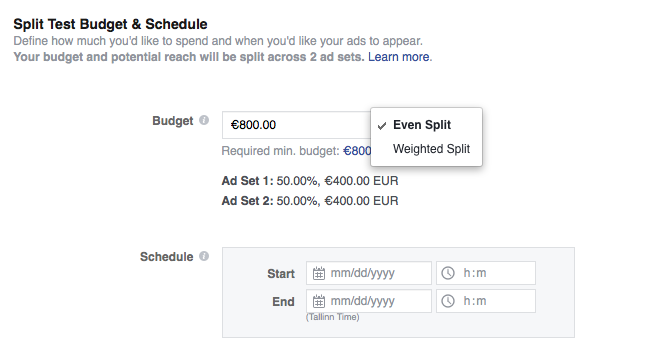 Facebook budget and schedule
