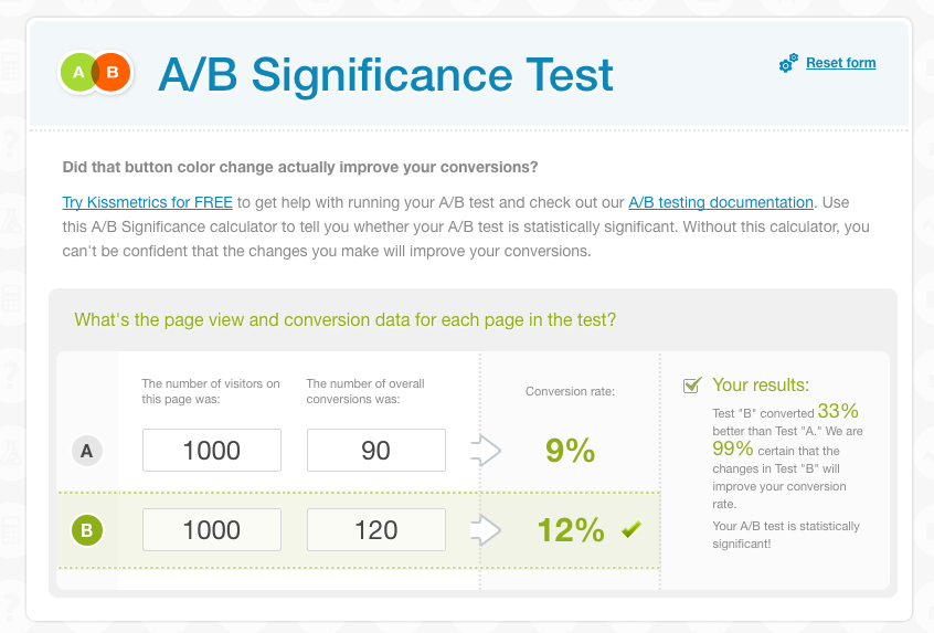 A/B significance test helps to evaluate your results