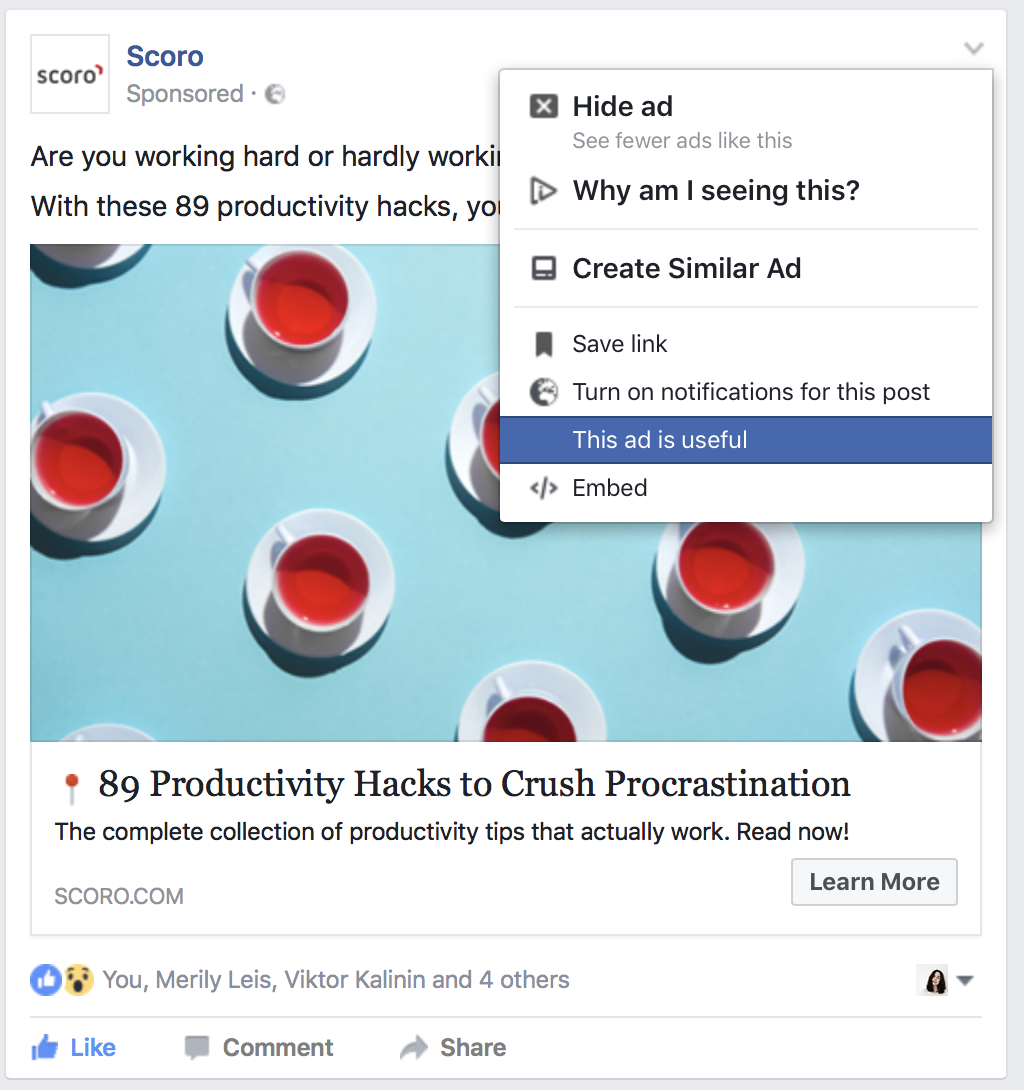 Tell Facebook which ads are useful to you