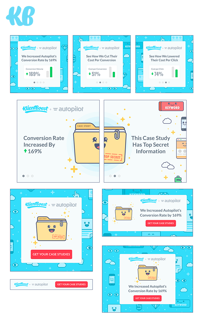 We tested all these ads for one landing page