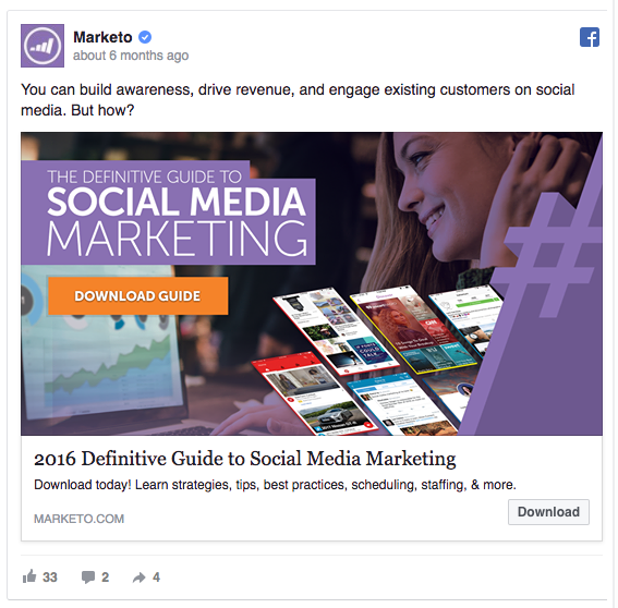 Marketo's Facebook ad includes the number 2016