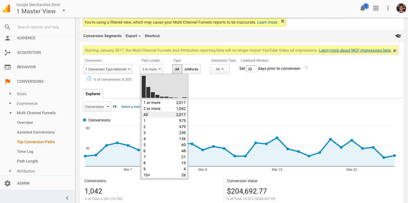View the Top Conversion Paths report in Google Analytics