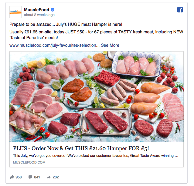 MuscleFood ad example 1