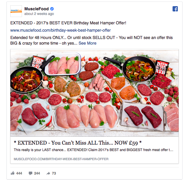 MuscleFood ad example 2