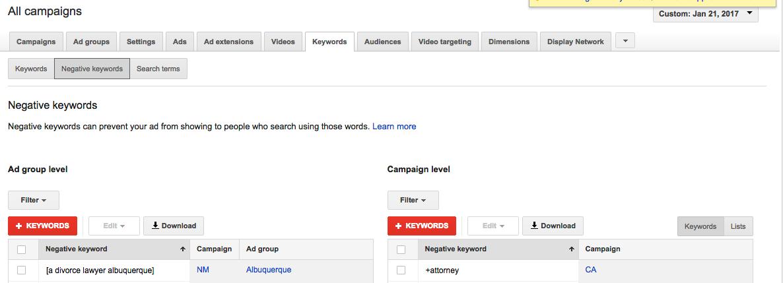 Google Ads Optimization How to add negative keywords