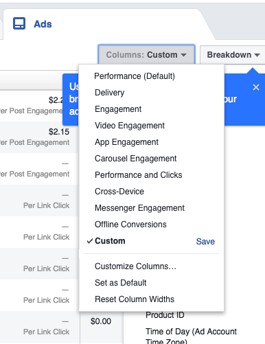 facebook ads CTR Ads Manager, go to Columns: Customize Columns...