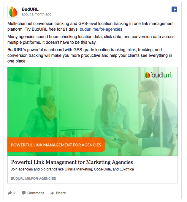 BudURL has a clear target of marketing agencies with this ad.