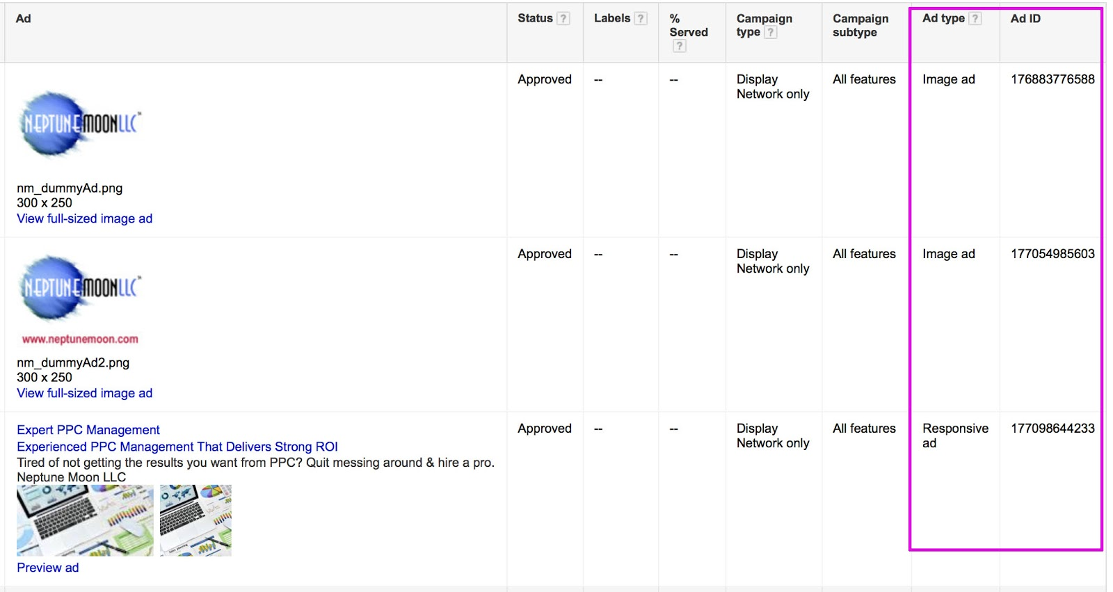 This is how it will look adding two new columns: Ad Type and Ad ID