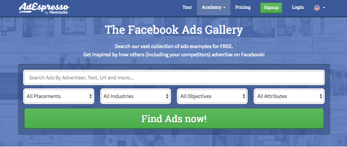 Browse thousands of Facebook ad examples with AdEspresso
