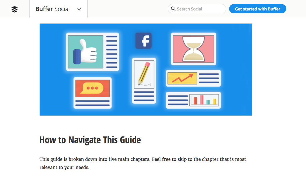 Buffer's Facebook guide is so extensive it needs a navigation guide