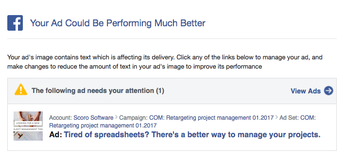 Facebook will notify you of text-heavy ad images