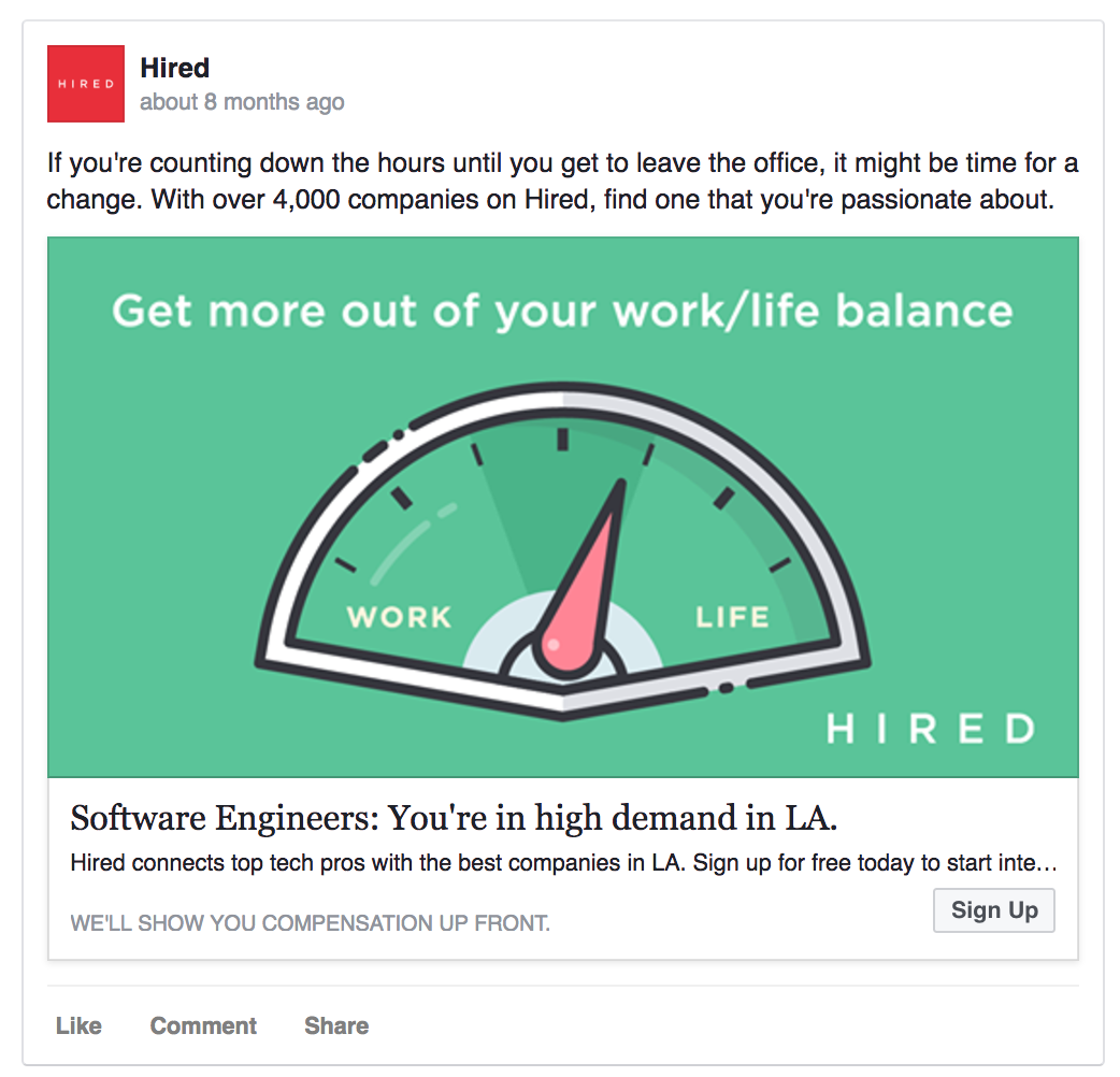 Hired's Facebook ad is location-specific